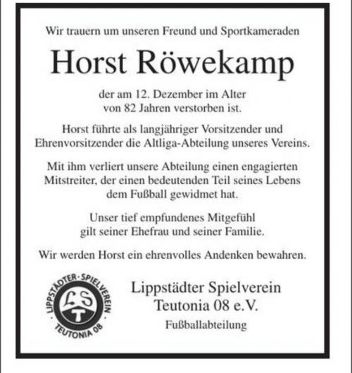 Traueranzeige Horst Röwekamp